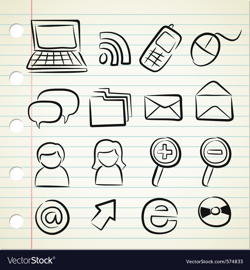 Sketchy icon set vector | Price: 1 Credit (USD $1)