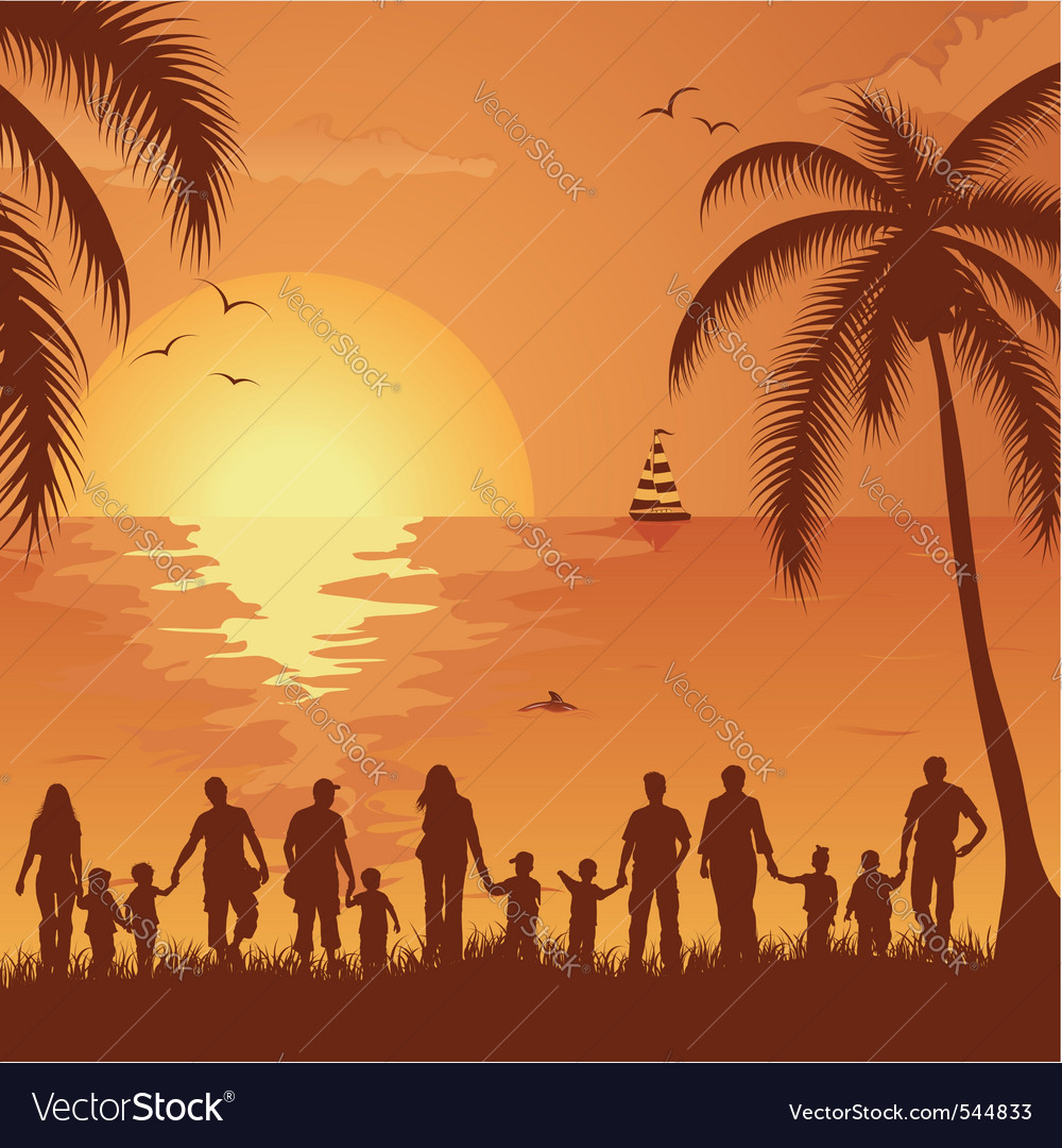 Tropical family vacation vector | Price: 1 Credit (USD $1)
