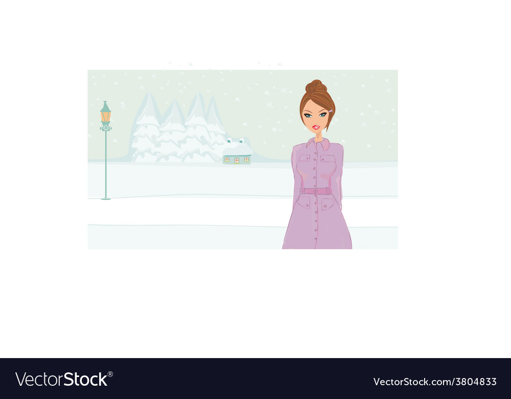 Winter girl vector | Price: 1 Credit (USD $1)