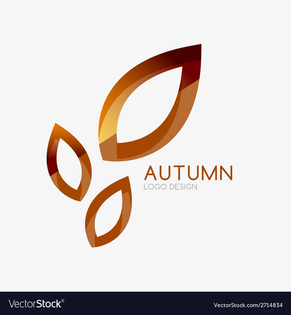 Autumn leaf logo minimal design vector | Price: 1 Credit (USD $1)