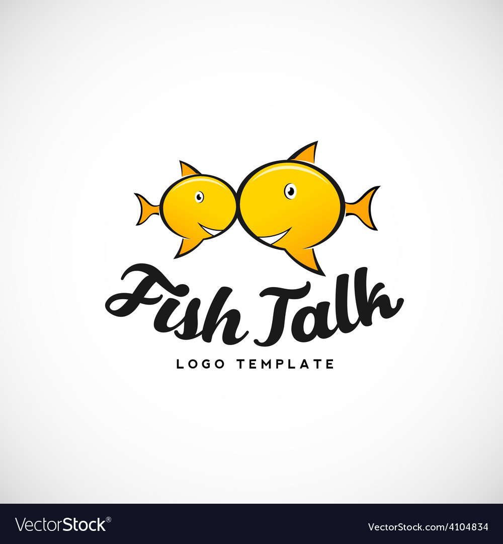 Fish talk abstract logo with typography vector | Price: 1 Credit (USD $1)