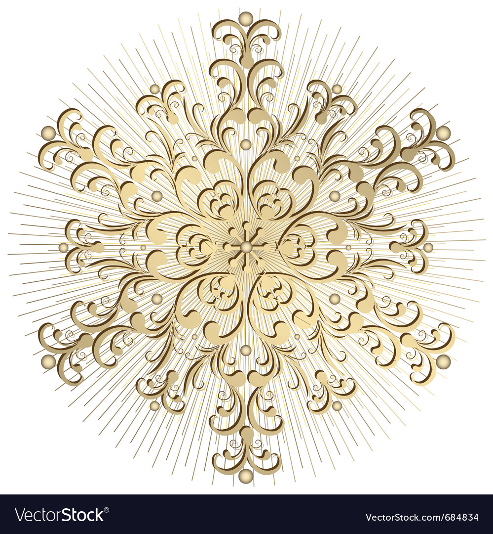 Gold vintage snowflake vector | Price: 1 Credit (USD $1)