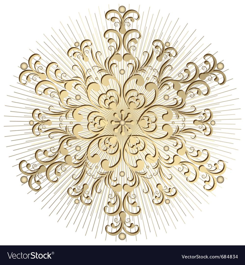Gold vintage snowflake vector | Price: 1 Credit (USD $1)