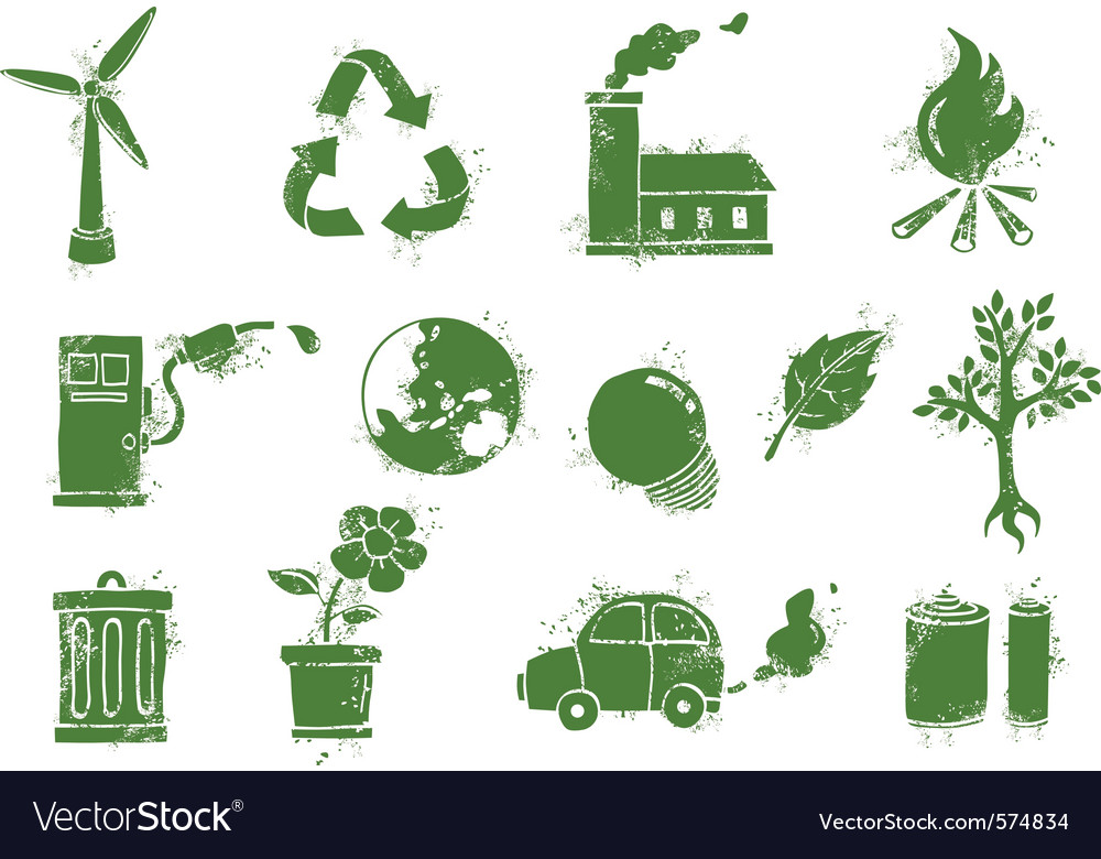 Grunge environment icons vector | Price: 1 Credit (USD $1)