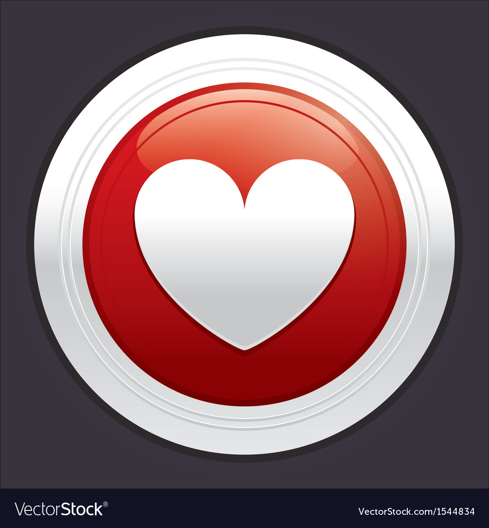 Heart button red round sticker vector | Price: 1 Credit (USD $1)