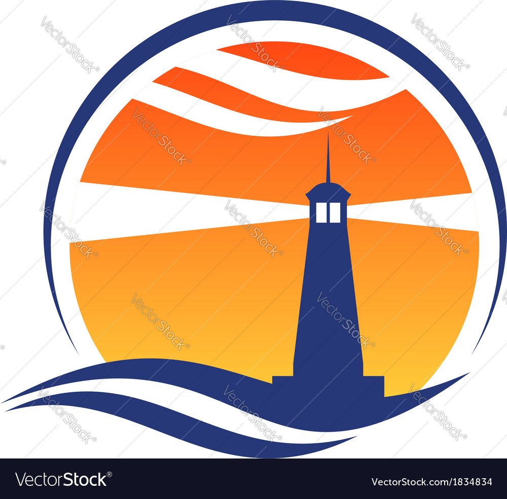 Lighthouse icon at sunset vector | Price: 1 Credit (USD $1)