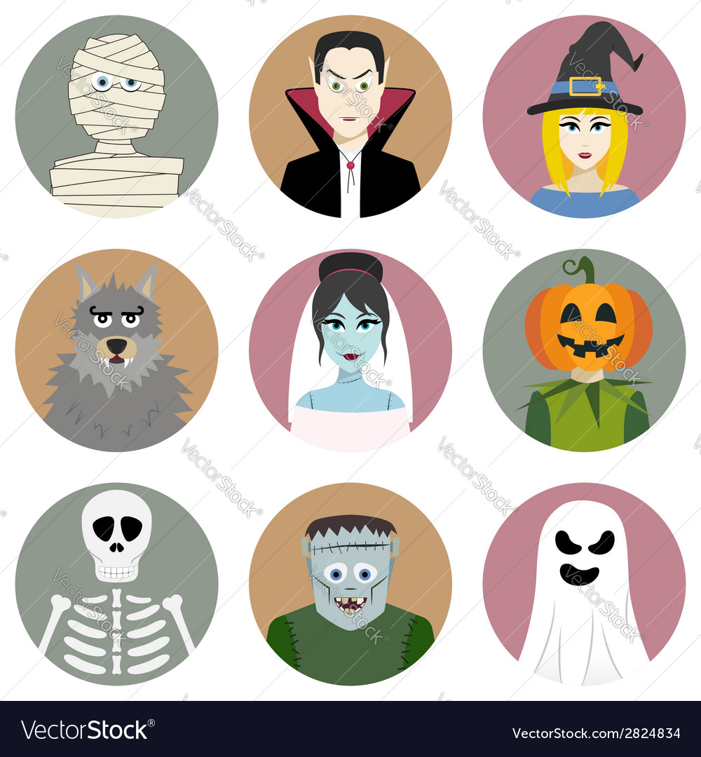 Set of nine halloween characters vector | Price: 1 Credit (USD $1)