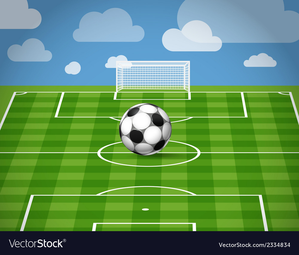 Soccer ball lying on the grass vector | Price: 1 Credit (USD $1)