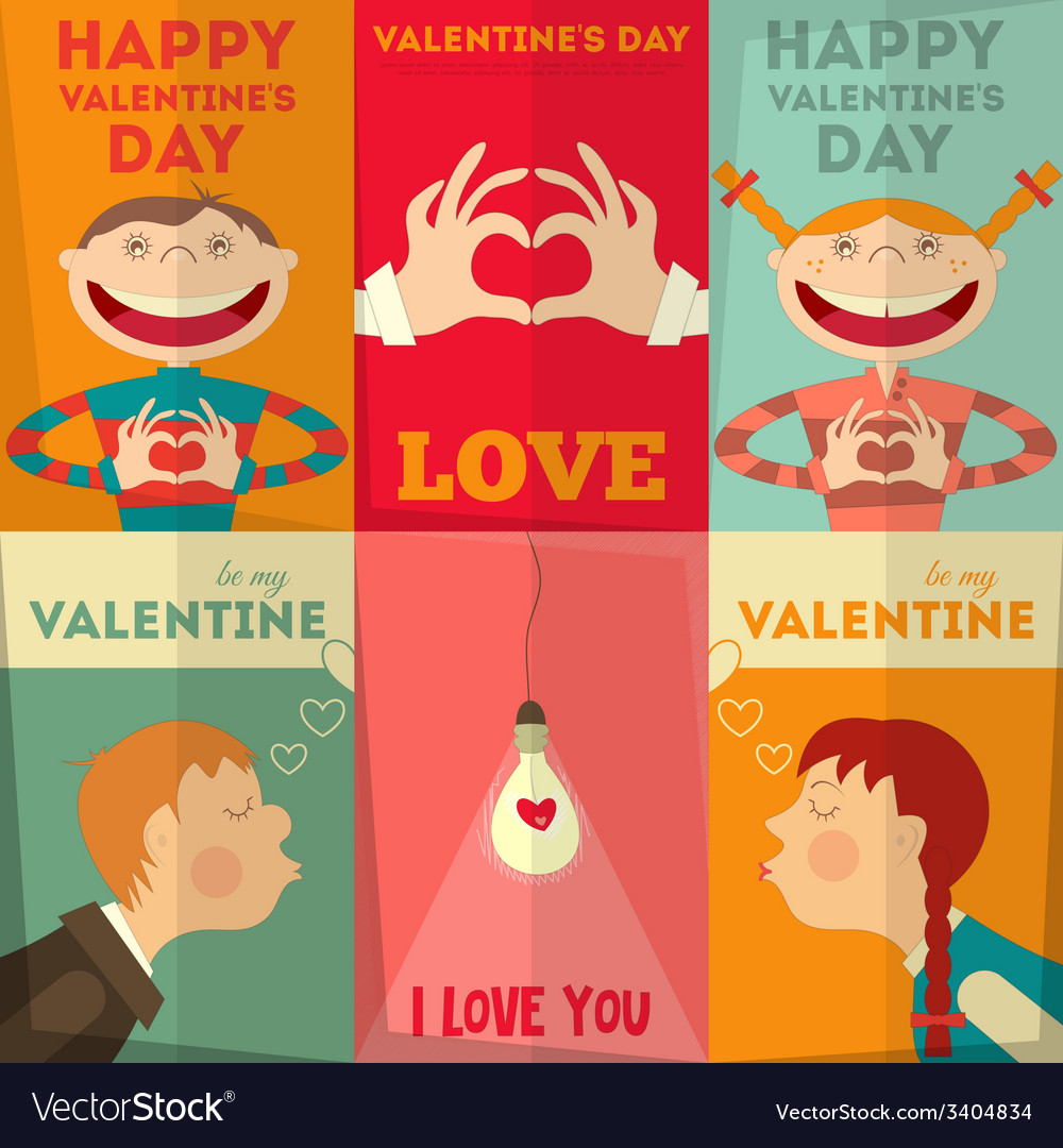 Valentines day posters vector | Price: 1 Credit (USD $1)