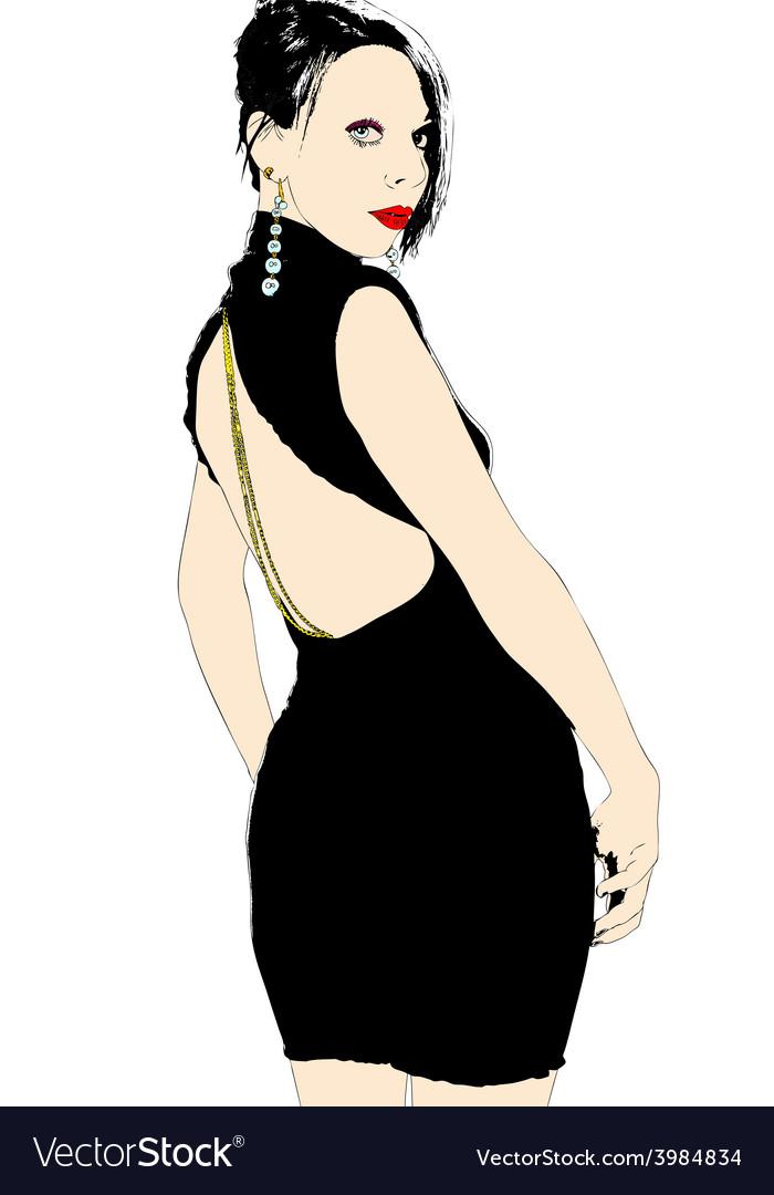Woman in black dress vector   Price: 1 Credit (USD $1)