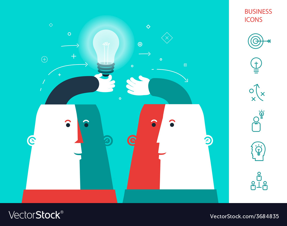 Businessman giving ideas bulb to his partner vector | Price: 1 Credit (USD $1)