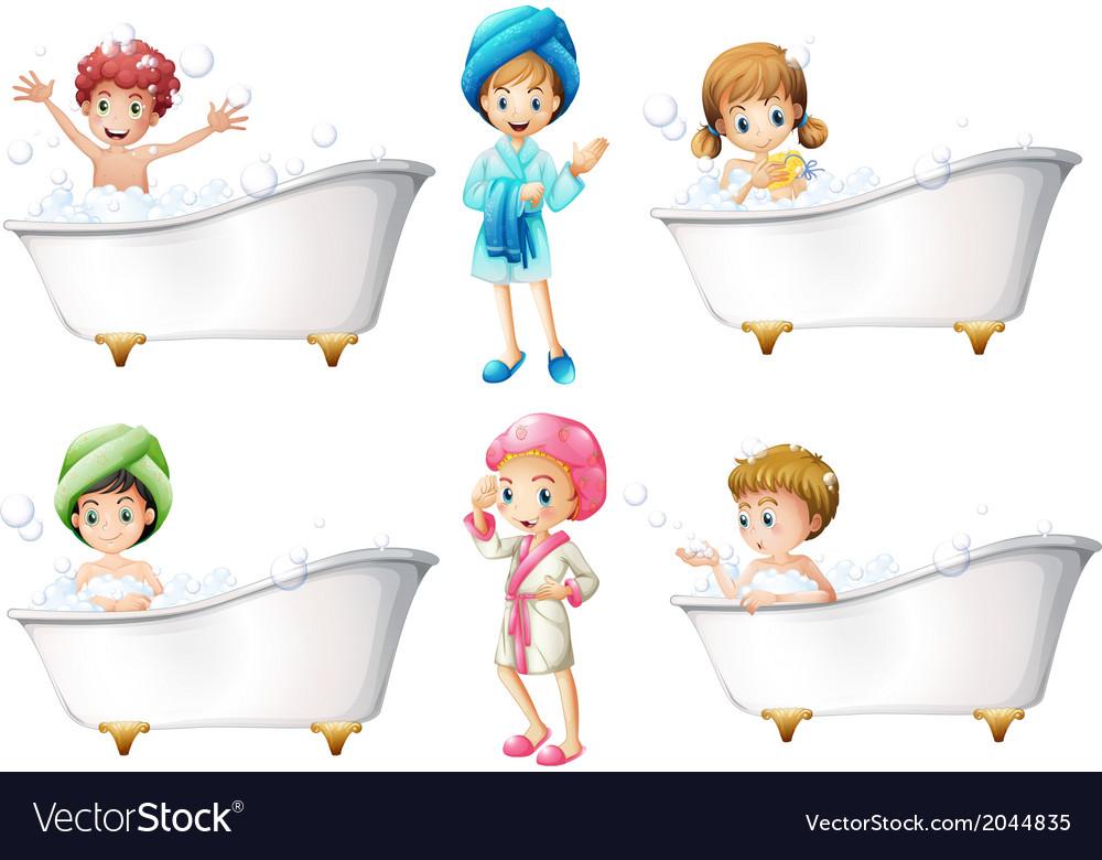 Children taking a bath vector | Price: 1 Credit (USD $1)
