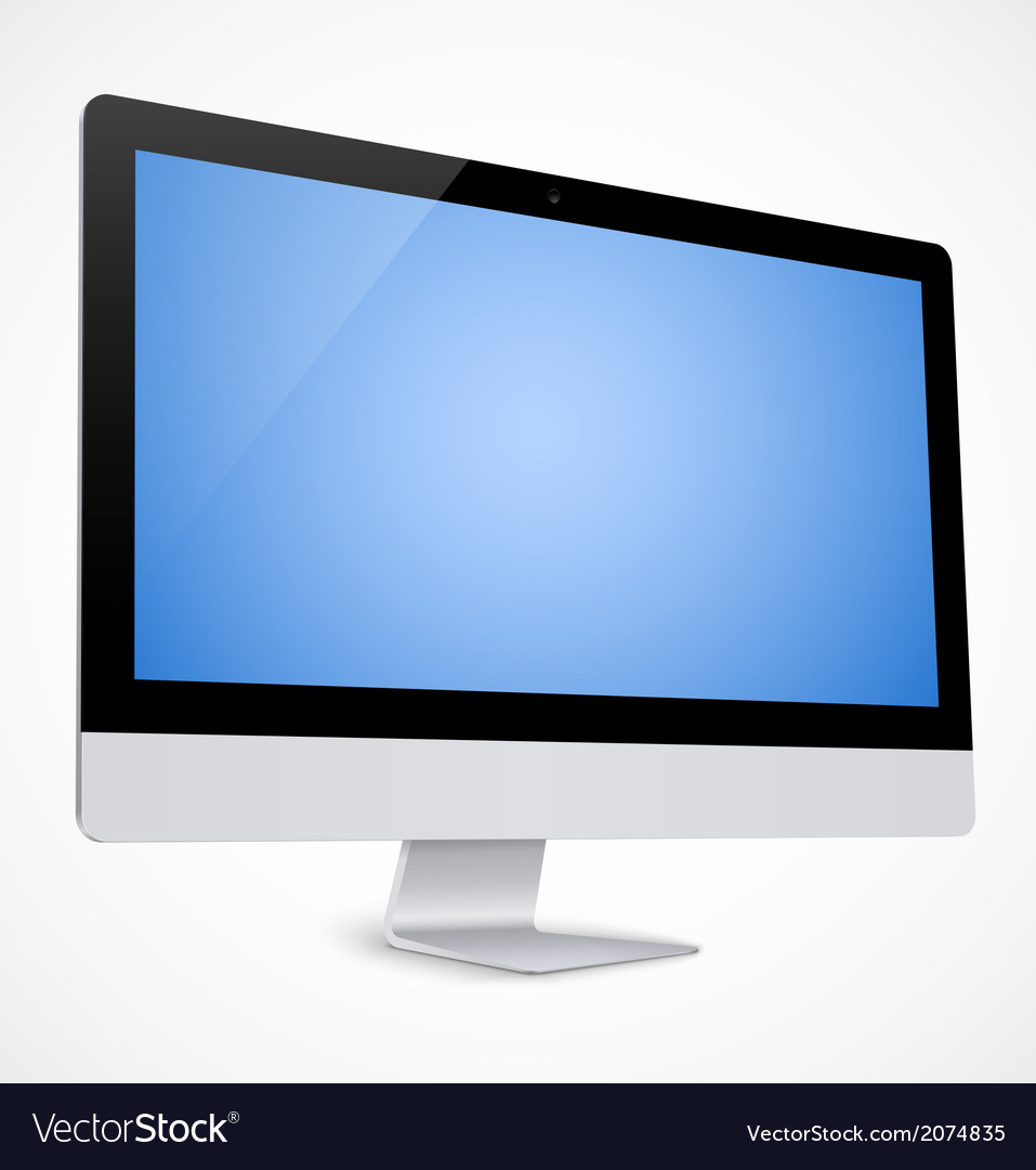 Computer display with blue screen vector | Price: 1 Credit (USD $1)