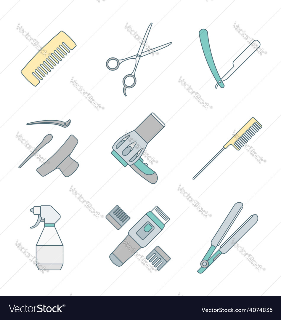 Hairdresser tools color outline icons set vector | Price: 1 Credit (USD $1)