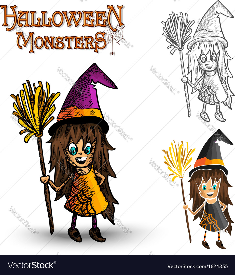 Halloween monsters spooky witch eps10 file vector | Price: 1 Credit (USD $1)
