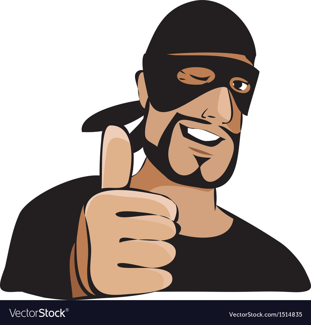 Man in black mask with thumb up vector | Price: 1 Credit (USD $1)