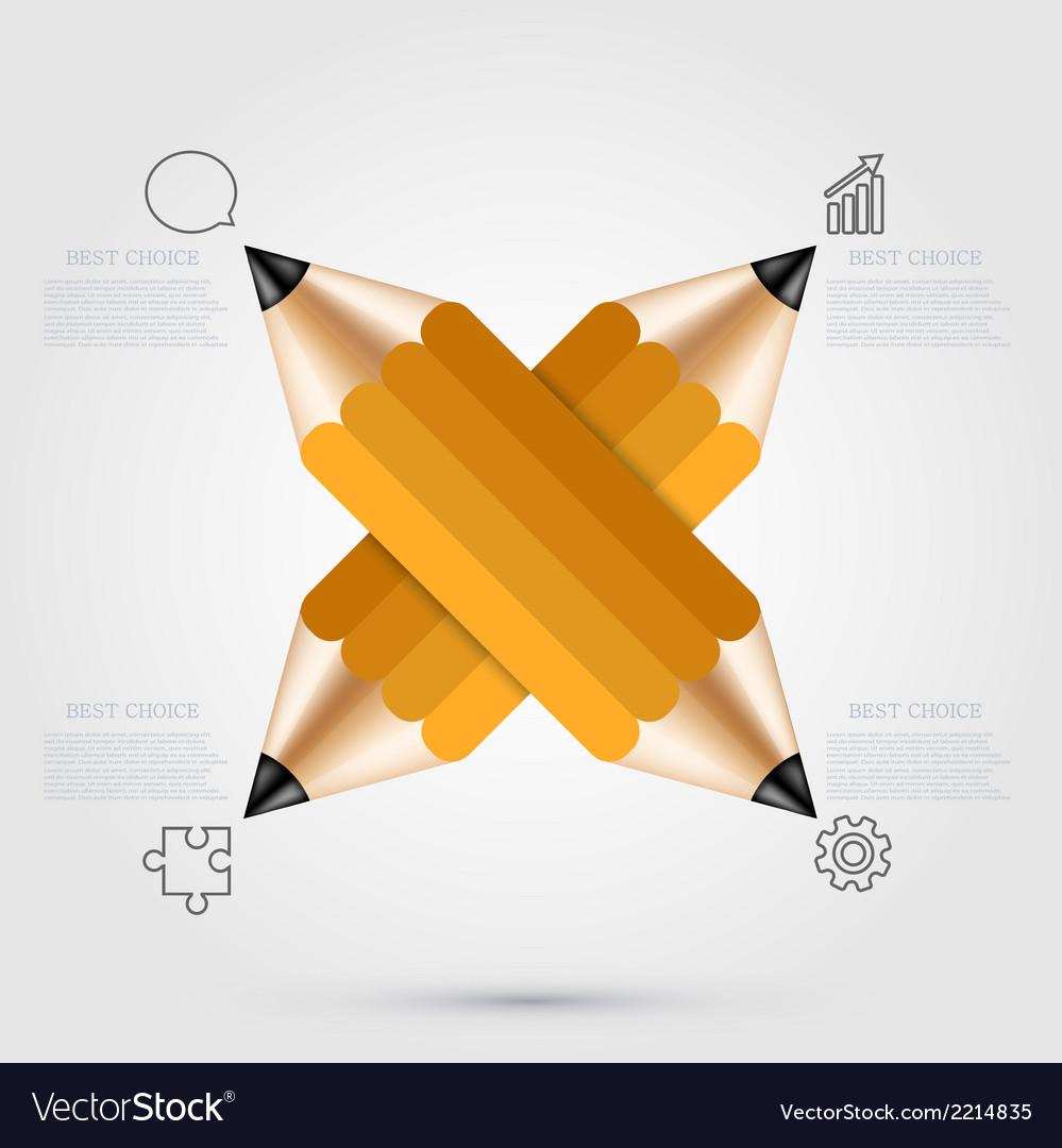 Modern pencil infographics vector | Price: 1 Credit (USD $1)