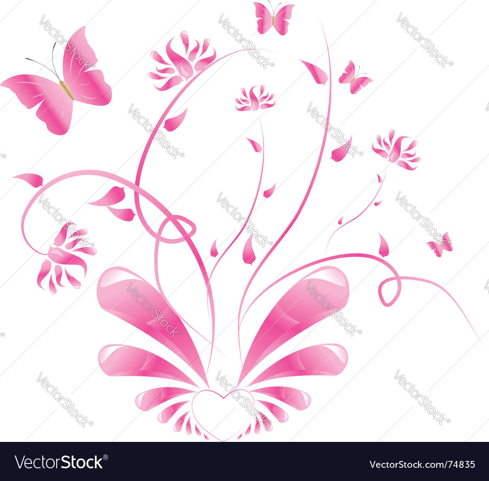 Pink floral design with butterflies vector | Price: 1 Credit (USD $1)