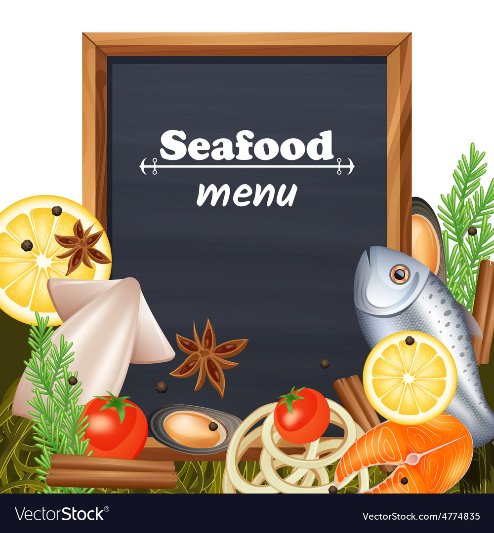Seafood menu template vector | Price: 3 Credit (USD $3)