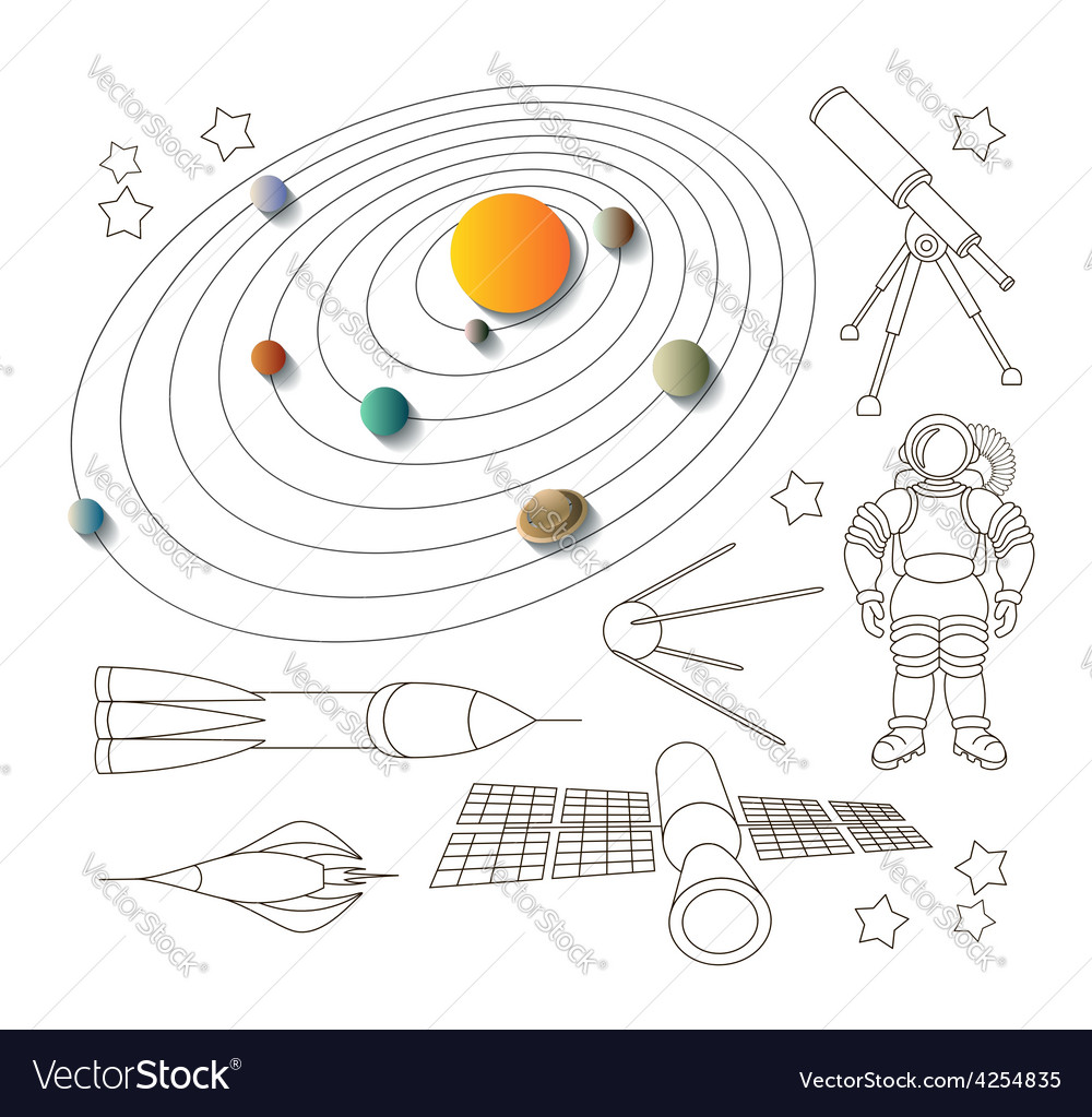 Space icons and solar system vector | Price: 1 Credit (USD $1)