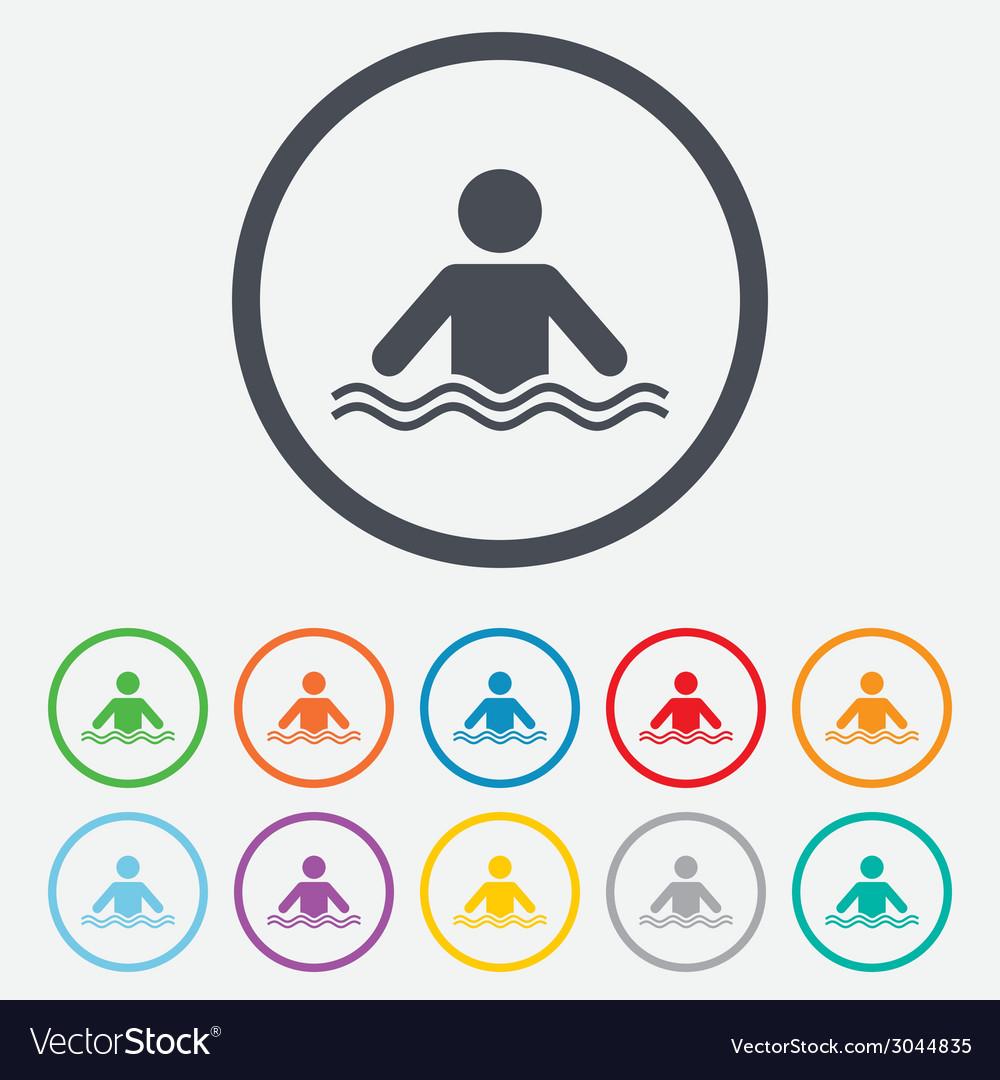 Swimming sign icon pool swim symbol vector | Price: 1 Credit (USD $1)