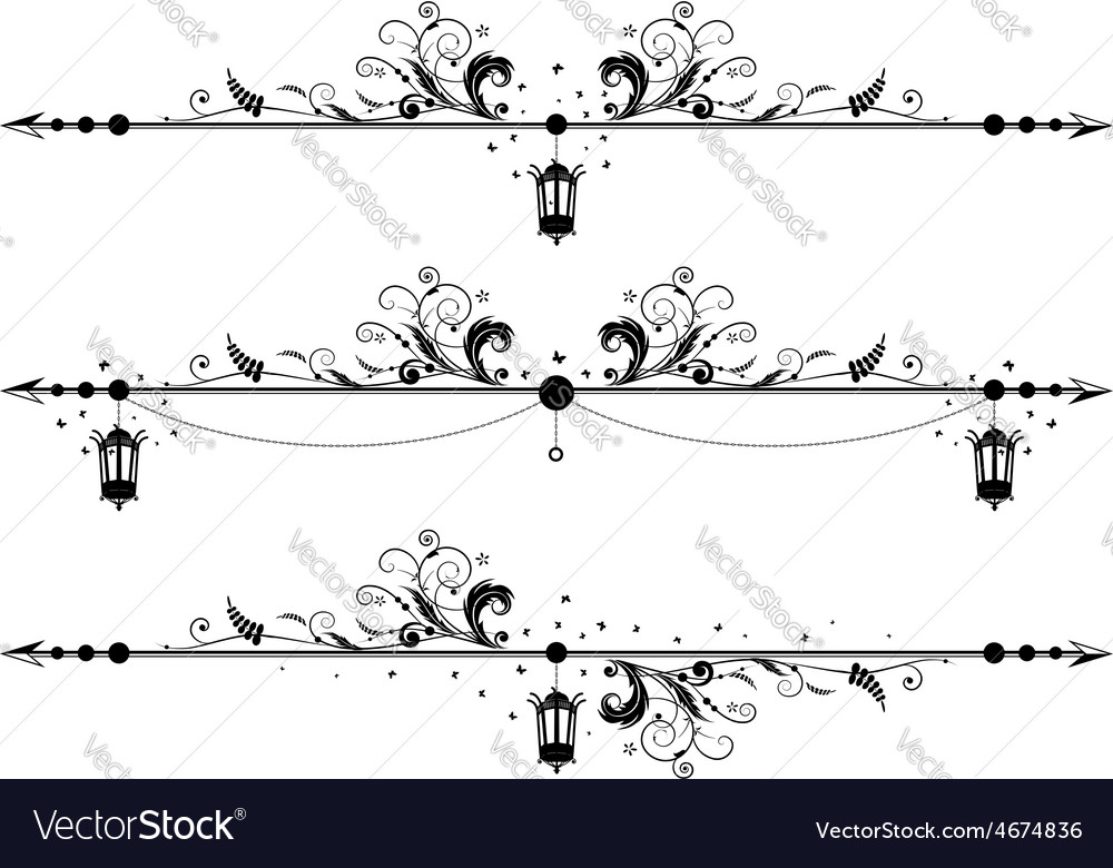 Borders with old street lamp vector | Price: 1 Credit (USD $1)