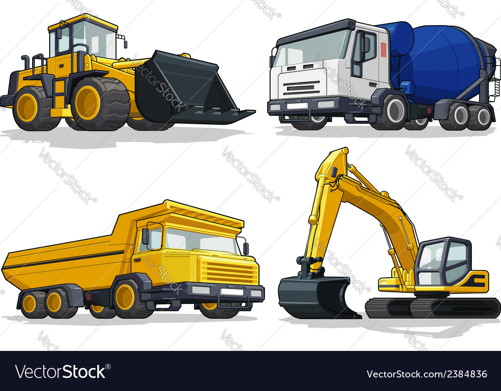 Construction machine bulldozer cement truck vector | Price: 1 Credit (USD $1)