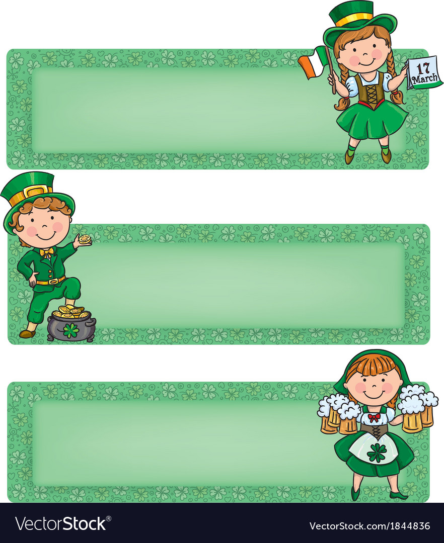 Happy st patrick horizontal banners vector | Price: 1 Credit (USD $1)