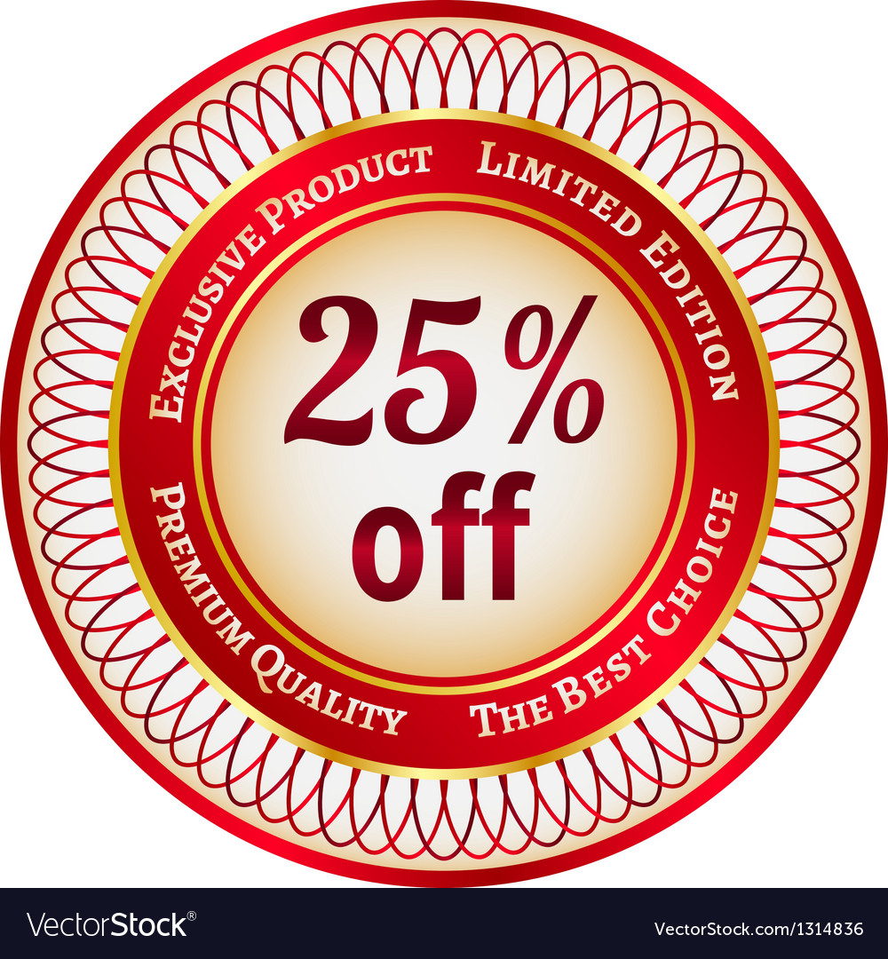 Label on 25 percent discount vector | Price: 1 Credit (USD $1)