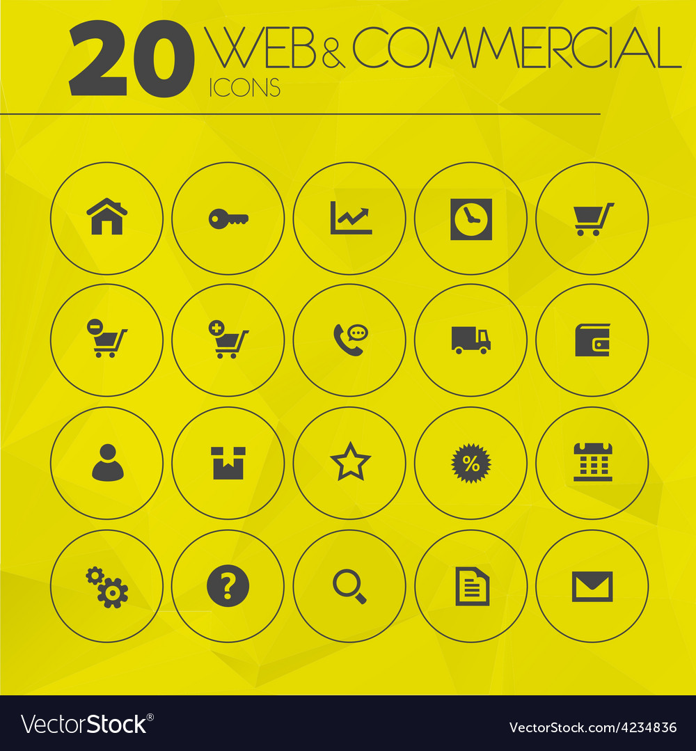 Simple thin web and commercial icons collection vector | Price: 1 Credit (USD $1)