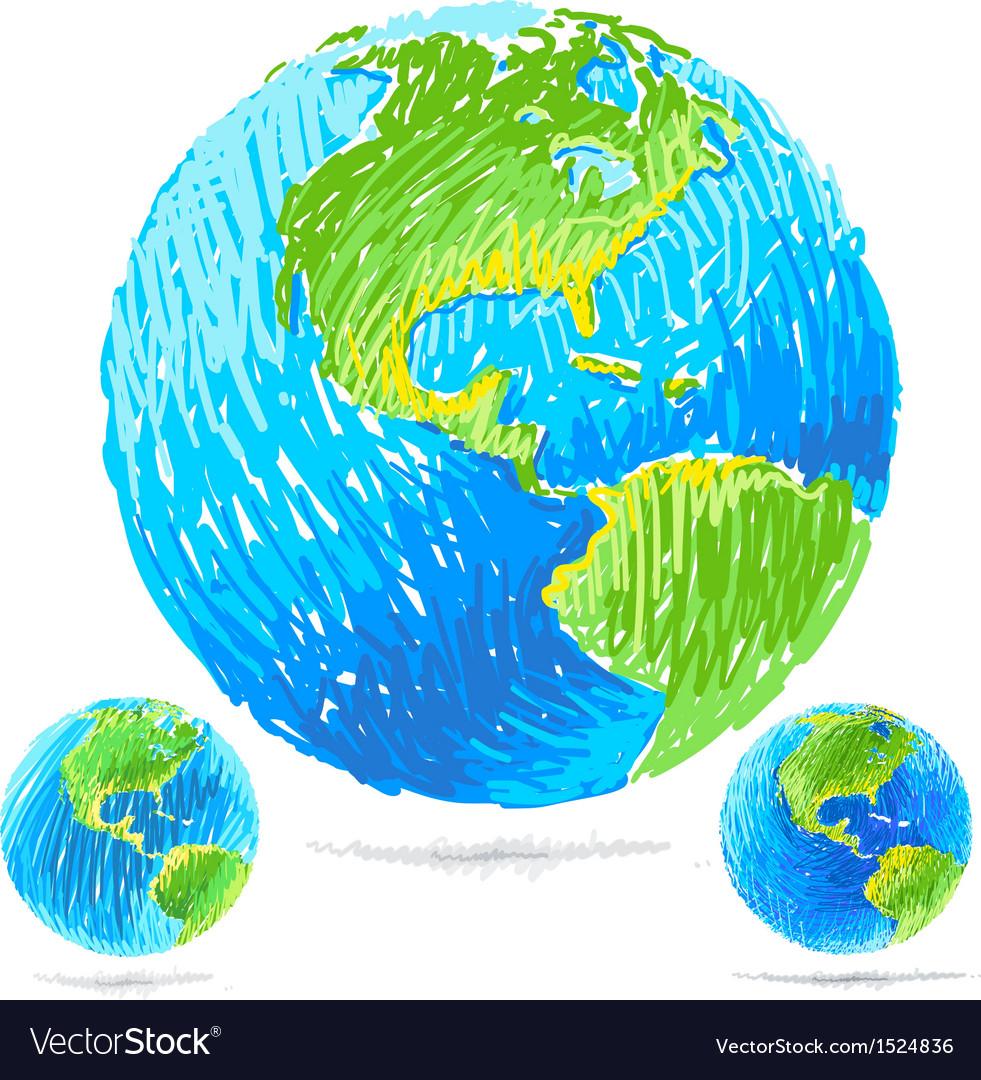 Sketchy blue earth vector | Price: 1 Credit (USD $1)