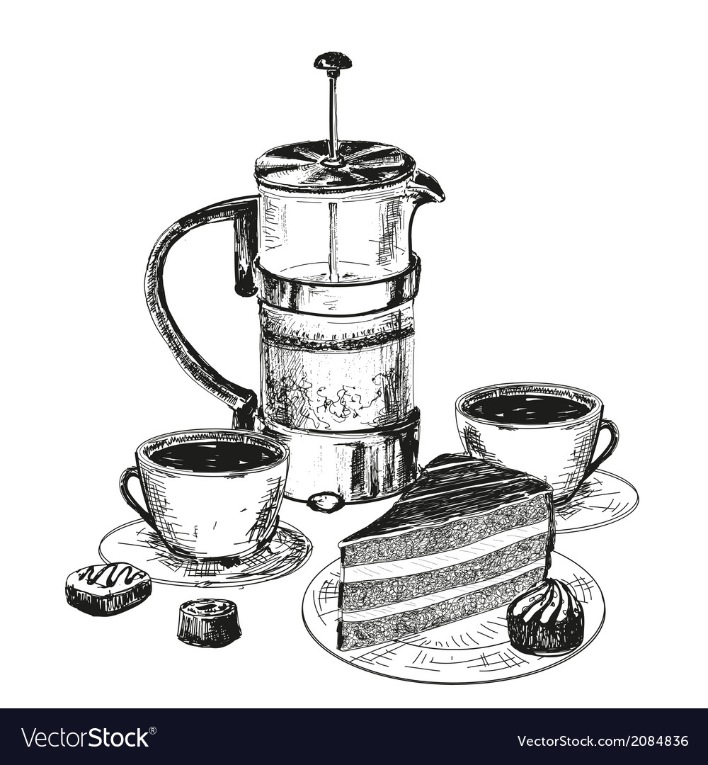 Teapot cup and chocolate cake vector | Price: 1 Credit (USD $1)