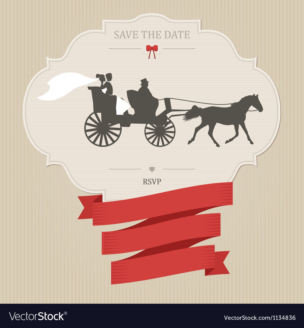 Vintage wedding invitation with retro carriage vector | Price: 1 Credit (USD $1)