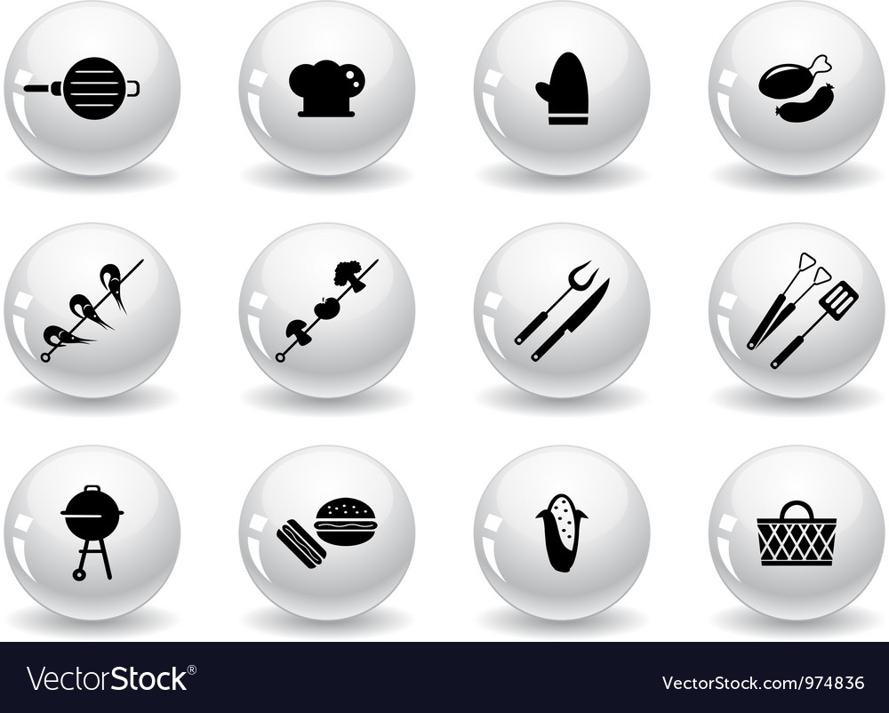 Web buttons grilling icons vector | Price: 1 Credit (USD $1)