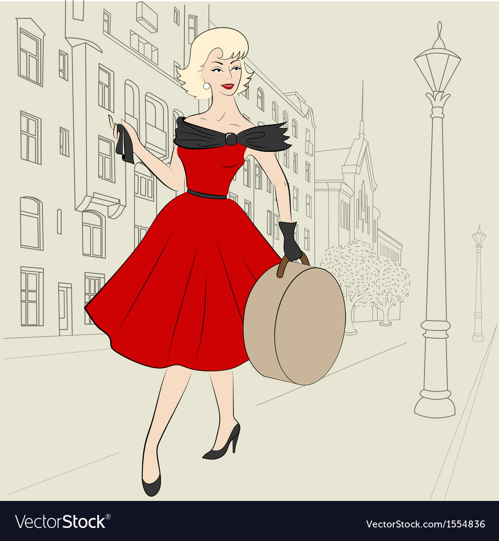 Woman in europe in 50s vector | Price: 1 Credit (USD $1)