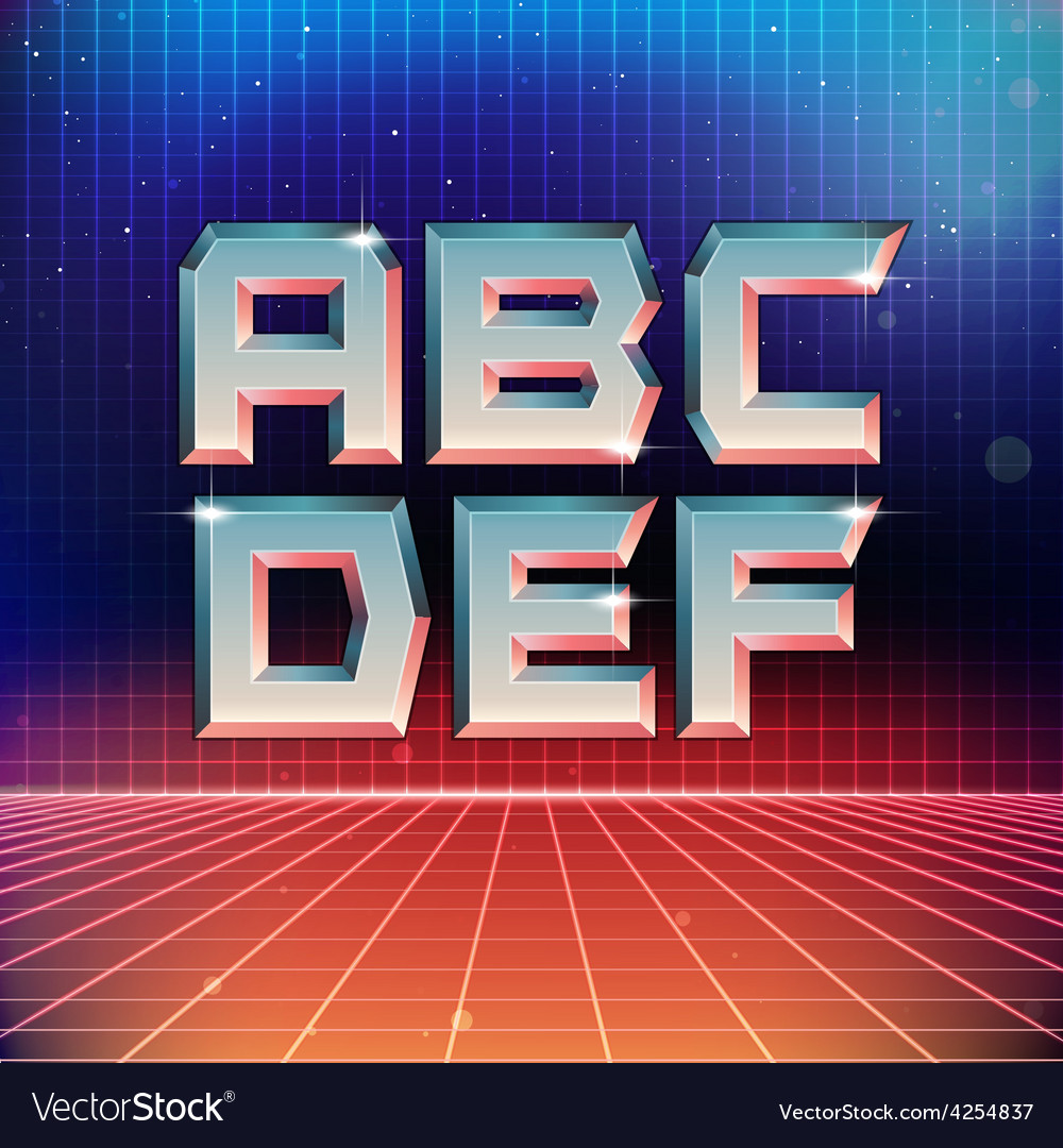 80s retro futuristic font from a to f vector | Price: 1 Credit (USD $1)