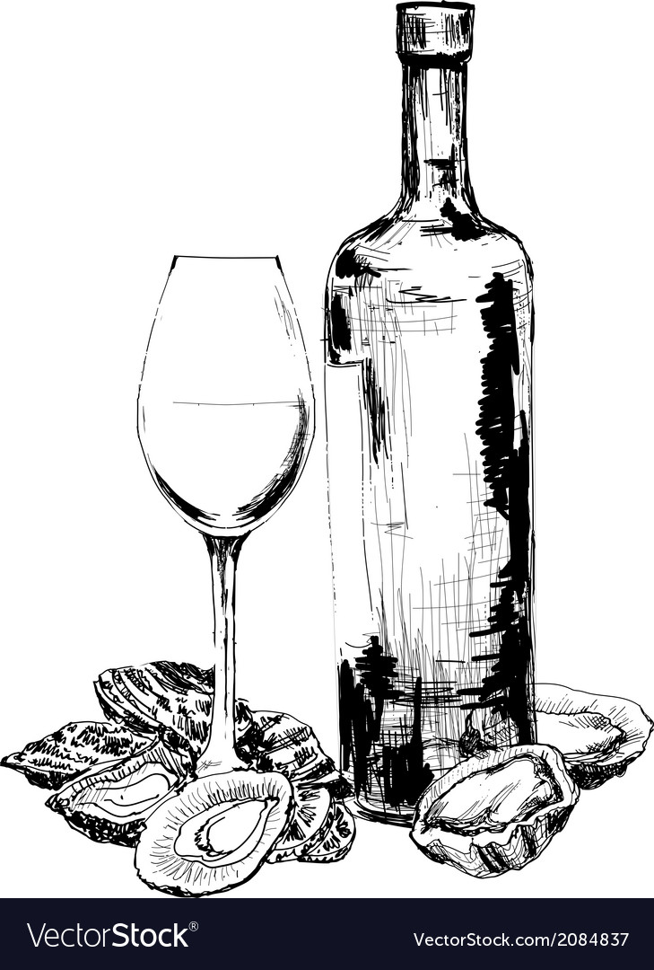 Bottle of wine oysters and glass vector | Price: 1 Credit (USD $1)