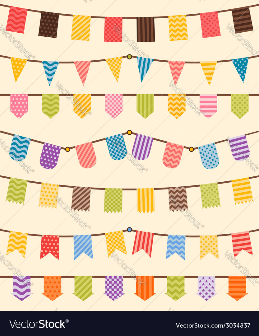 Bunting and garland set in various colors vector | Price: 1 Credit (USD $1)