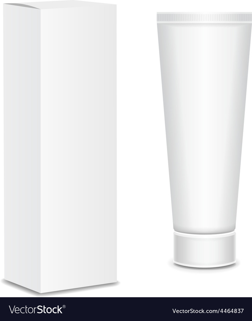 Cool realistic white tube and packaging for vector | Price: 1 Credit (USD $1)