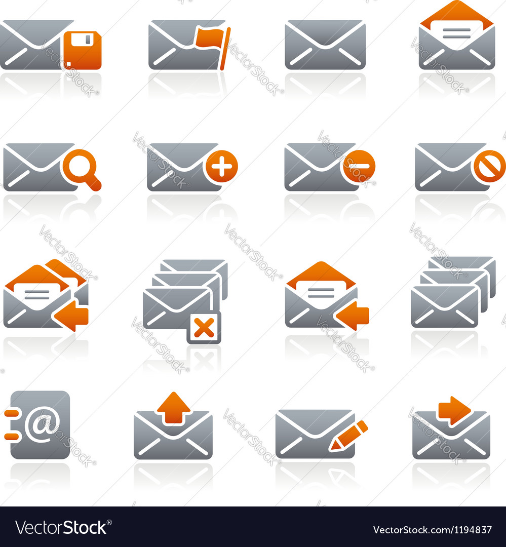 E-mail icons graphite series vector | Price: 1 Credit (USD $1)