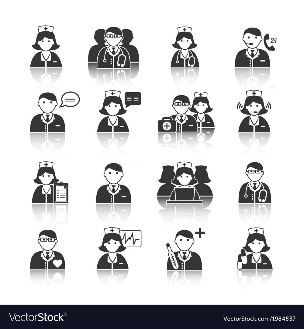 Medicine doctors and nurses icons set vector | Price: 1 Credit (USD $1)
