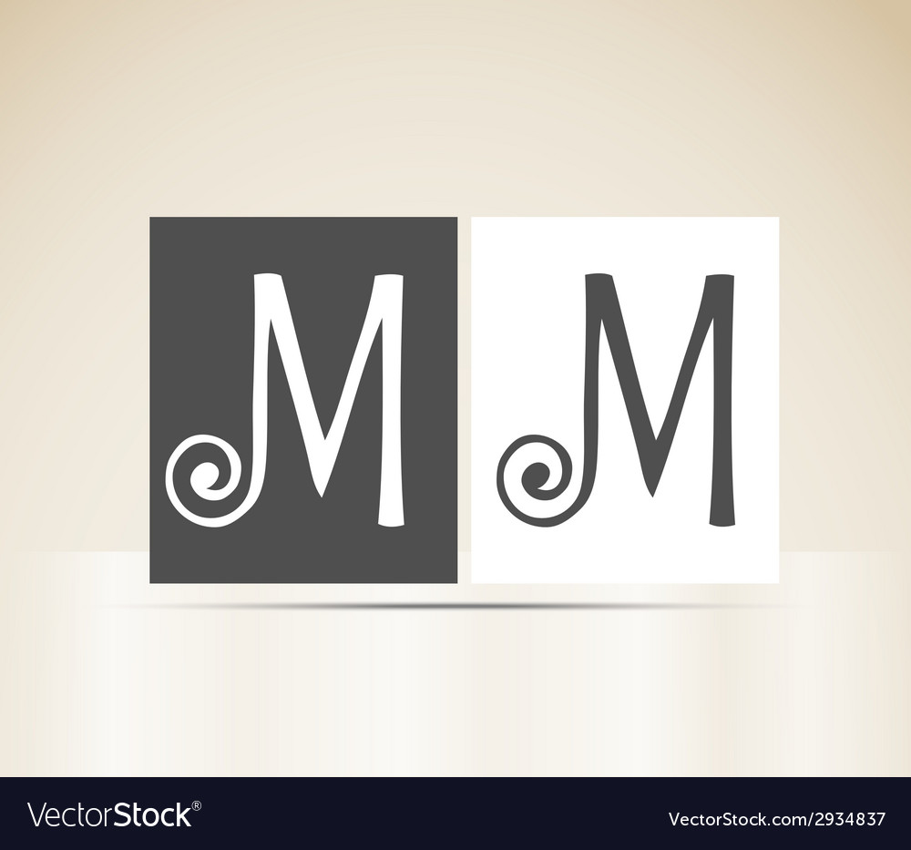 Retro alphabet letter m art deco vintage design vector | Price: 1 Credit (USD $1)