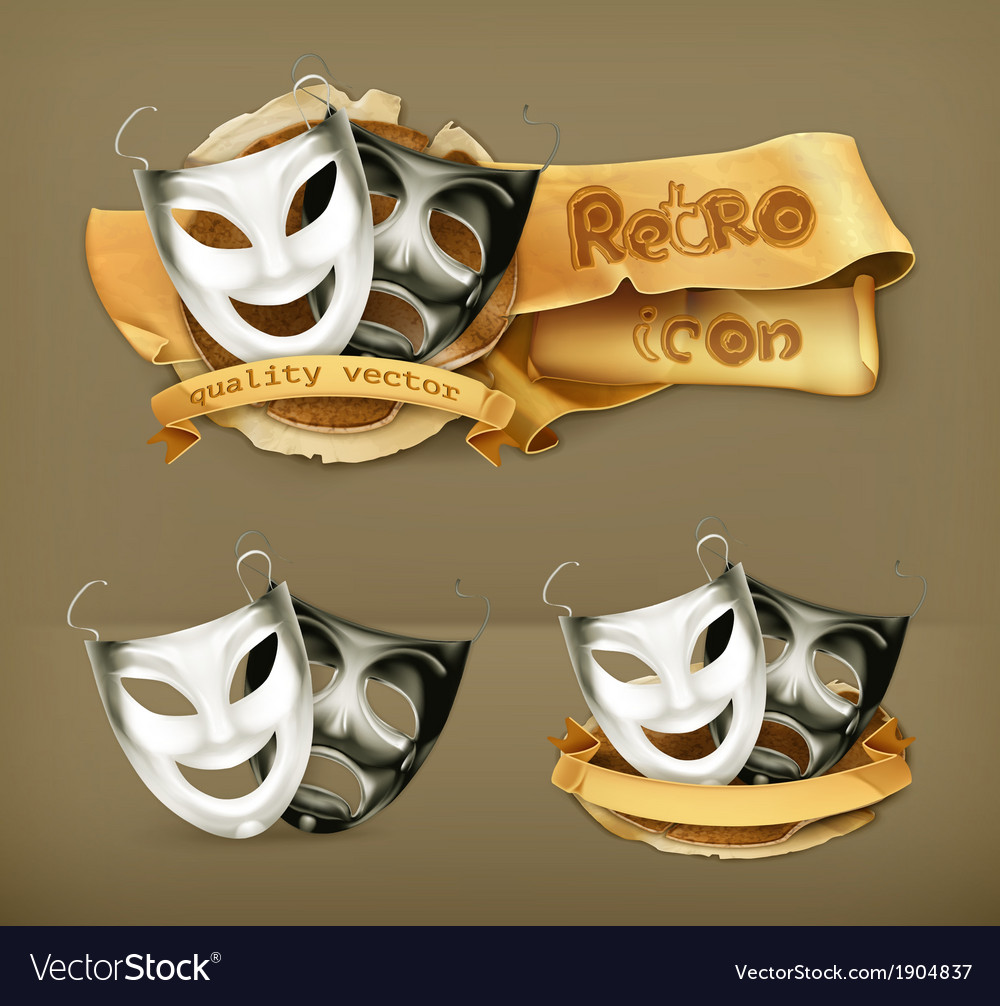 Theater masks icon vector | Price: 1 Credit (USD $1)