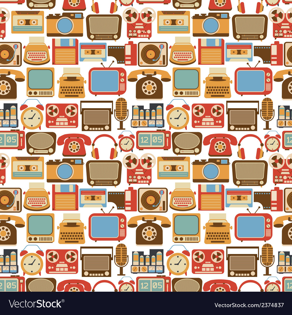 Vintage gadget seamless pattern vector | Price: 1 Credit (USD $1)