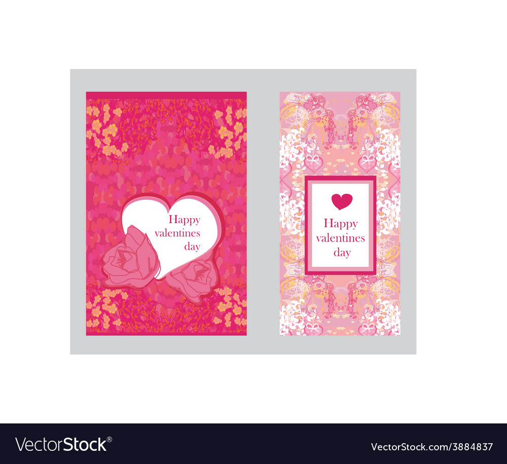 Vintage style valentine day card set vector | Price: 1 Credit (USD $1)