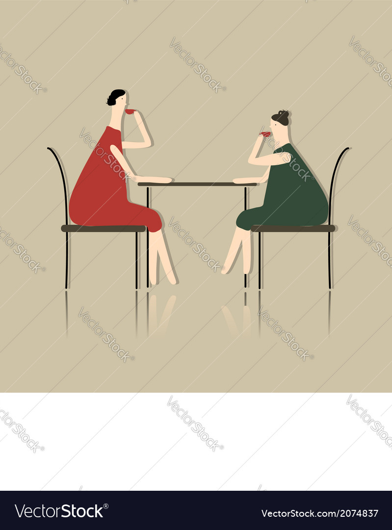 Women drink tea in cafe sketch for your design vector | Price: 1 Credit (USD $1)