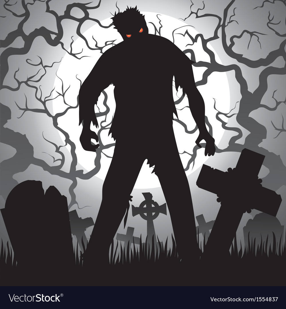 Zombie and tombstones vector | Price: 1 Credit (USD $1)