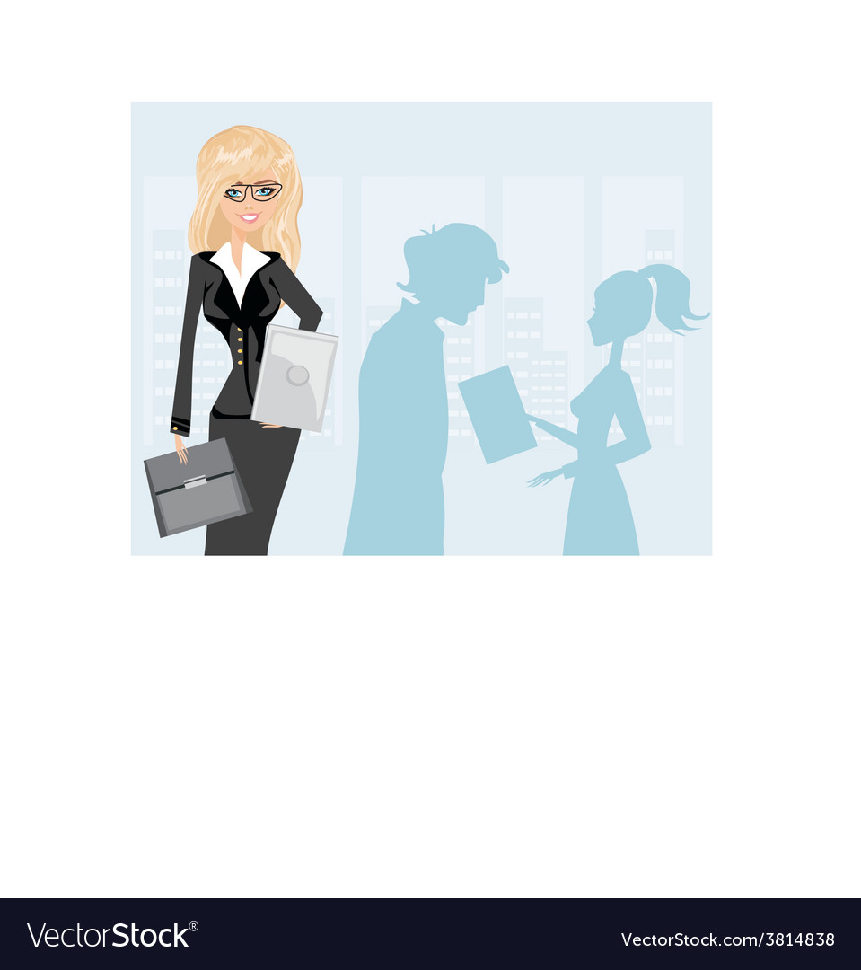 Beautiful business woman holding a tablet computer vector