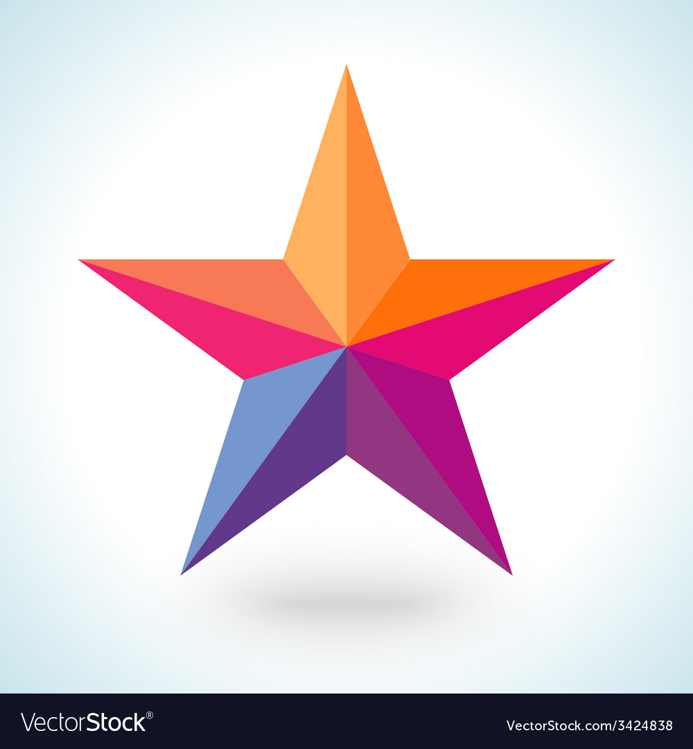 Bright colorful star shape in modern polygonal vector | Price: 1 Credit (USD $1)