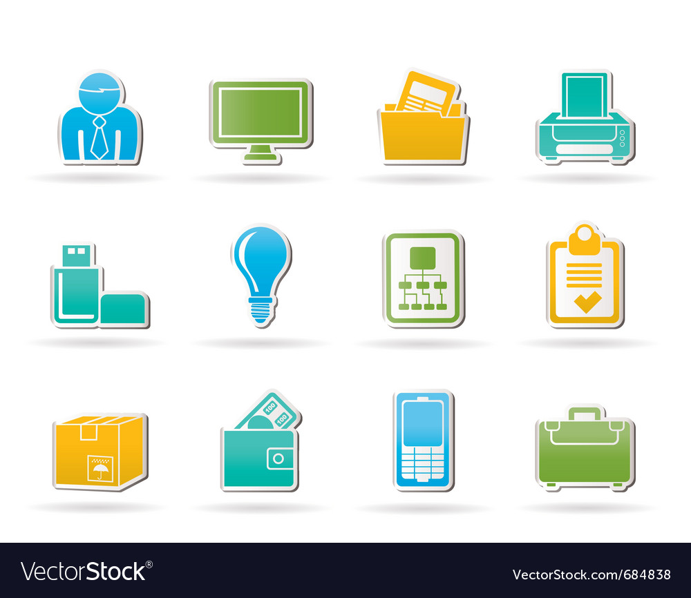 Business and office equipment icons vector | Price: 1 Credit (USD $1)